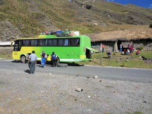 Our bus had a blown-out tire!